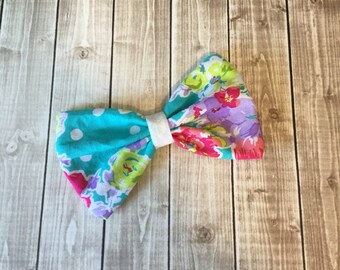 Teal Aqua Floral with White Polka Dots Fabric Hair Bow Clip - You choose alligator clip or elastic band