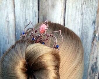 Princess hair fork hair comb, hair pin, hair slide, metal hair accessories, four prongs long hair green blue Hair fork hair stick gemstones