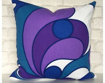 """Vintage Retro 70s Purple Psychedelic Cushion Cover 18"""" x 18"""" Retro Throw Pillow Cover"""