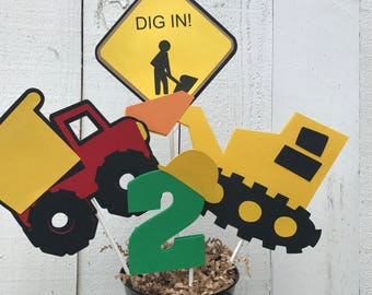 Construction Centerpiece/ Cake Topper/ Name/ Age/ Construction Party Decor/ Customized in any color combination/ Red/ Yellow/ Blue/ Table De