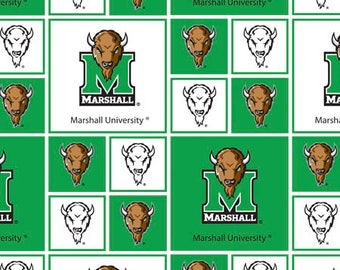 Marshall University Cotton Fabric-Marshall Thundering Herd 100% Cotton Quilting Fabric-Sold by the Yard-Geometric Design