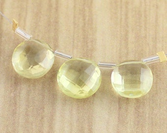 Medium Sized Faceted Yellow Lemon Quartz Coin Shaped Round Gemstone Beads Set of 3 Pieces - Final Sale
