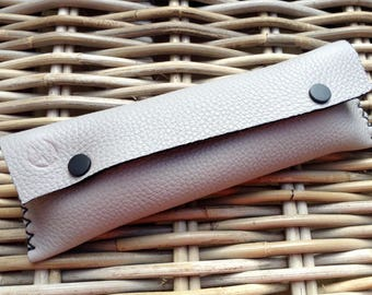 Hanstitched in UK soft thick grainy light grey leather LARGE pen/glasses case with black stitch/poppers/rim