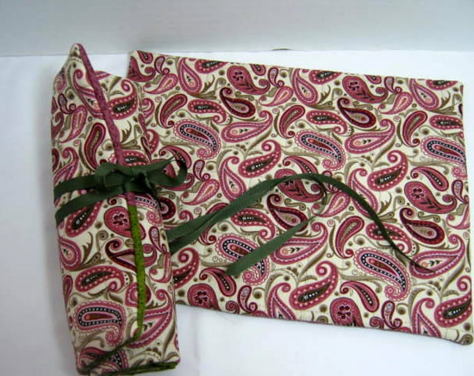 Paisley Crochet Needle Rolls, Double Pointed Organizers - Set of 2