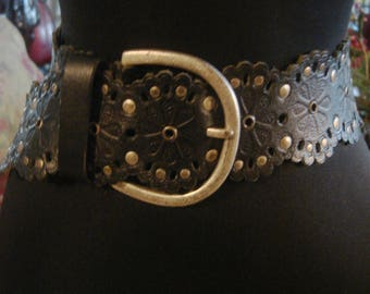 Vintage 1990s Boho Chic Black and Silver Tone Wide Stud Belt