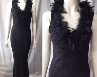 1930s bias cut gown with marabou trim