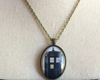 Handmade Doctor Who Tardis Jewelry Necklace, Doctor Who Jewelry, Handmade Police Box Jewelry, The Angels have the Box, Whovian Gift  Dr Who