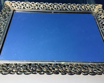 Dresser Mirror Tray Mid Century Bureau Red Velvet Backing Beautiful Scroll Trellis Silverplate Metal Trim in Lovely Condition LARGE Perfume+