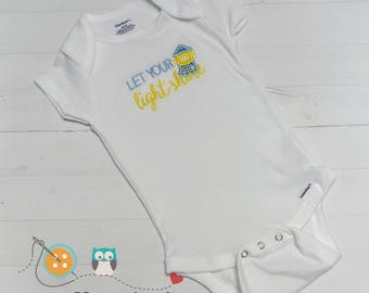 Let your light shine baby body suit- embroidered onesie  in blue and in pink-baby shower gift