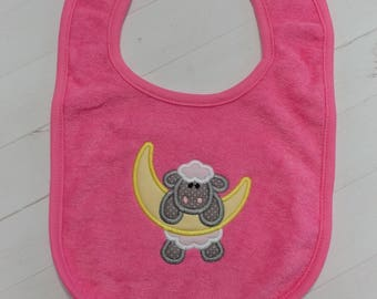 Sheep and the moon blue embroidered terri cloth baby bibs for boy and girls