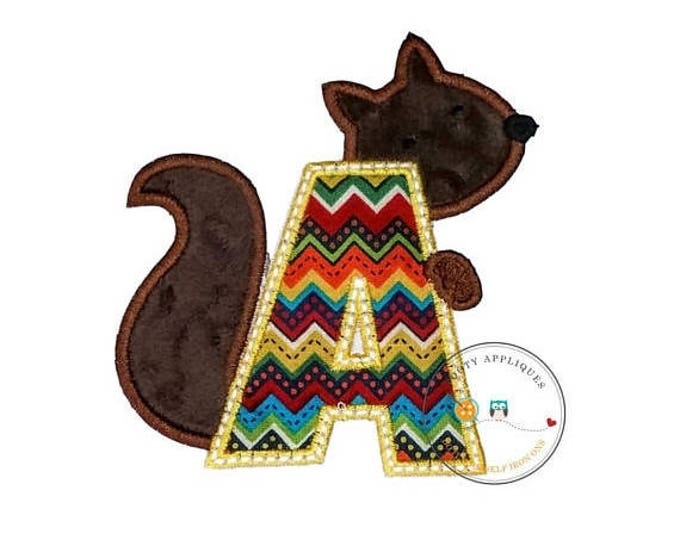 ON SALE NOW Woodland squirrel alphabet letter, Embroidered fabric letter A-Z iron on patch, earth tone monogram A with plush mink brown squi