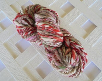 Handspun Yarn, CHERRY BLOSSOMS, Thick and Thin 2-ply yarn, super bulky yarn, soft merino yarn, mulberry silk, muga silk, polwarth wool yarn