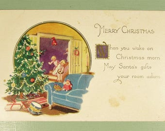 Christmas Morning Postcard - Vintage Tree Children Presents Poetry