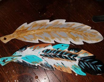 Custom hand painted leather feathers