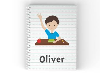 Student Personalized Notebook - Student Sitting at Desk Lined Paper with Name, Customized Spiral Notebook Back to School