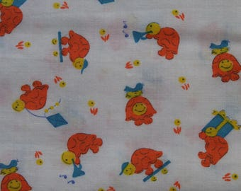 Vintage Children's fabric Musical Turtles