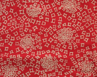 Vintage Geometric Red and Cream Brush pattern