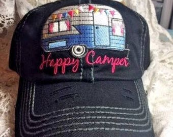 Boating Happy Camper Baseball Cap Hat Ladies - Glitter paint embroidery fishing hunting bad hair day hat