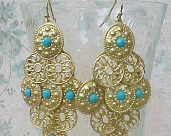 Pretty Boho Style Dangling Earrings with Little Turquoise Colored Stones