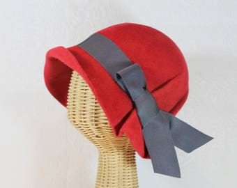Pleated Cloche Hat in Cherry Red Velour Felt  ~ Ingrid ~ rain hat, 30s, Bergman ~ handmade by Bonnet, local Portland millinery