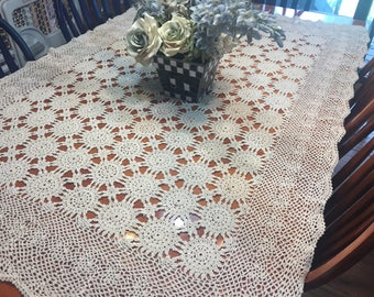Vintage Ivory Crochet Lace Tablecloth or bedspread by MarlenesAttic