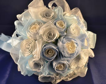 Wedding Bouquet Baby Blue White Rose Flowers