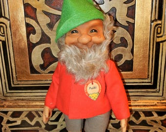 """Large Steiff Vintage Elf Dwarf Pucki  ID Tag German Collectible 12"""" T Doll Gnome Toy 1953-58 Christmas Holiday Decor"""