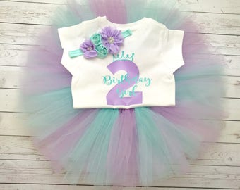 Tutu, Second Birthday Outfit girl, Princess Birthday Outfit, Purple and turquoise birthday outfit, 2nd Birthday Outfit, Tutu birthday Outfit