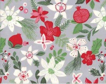 Merry Merry Christmas Spruce Tinsel Grey 27272 14 by Kate Spain from Moda- 1 yard