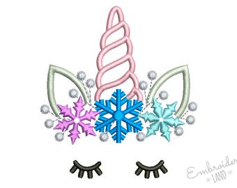 Cute Unicorn Snowflakes Machine Embroidery Design Two Variations 3 sizes 4x4 5x7 6x10 hoop DE067