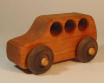 Heirloom-Quality Hardwood Toy SUV Family Car