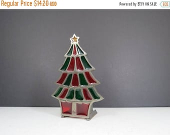 On Sale Christmas Tree Candleholder Vintage Cast Iron Stained Glass Style Candle Holder Christmas