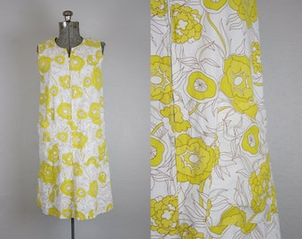 1960's Yellow Floral Shift House Dress  / Size Medium Large