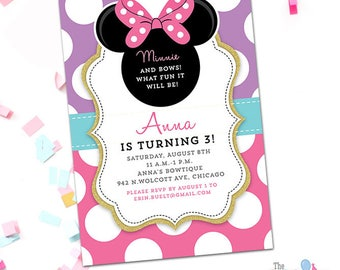 Minnie Mouse Invitation Teal Blue Pink and Gold, Minnie Bowtique, Printable Minnie Bow-tique Invitation, Digital Invite