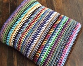 Striped Crochet Afghan in Scraps Throw Blanket Colorful