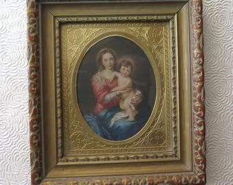 Madonna Framed Print Mother Child Mary Jesus Ornate Frame Gold Matte Christmas Decor 5.75 x 6.5 Inches Easel Back