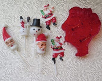 Christmas Pics Picks Plastic Santa Pics Cupcake Decoration Santa Heads Santa Bonus Cookie Cutter Snowman Picks Retro Holiday Crafts Decor