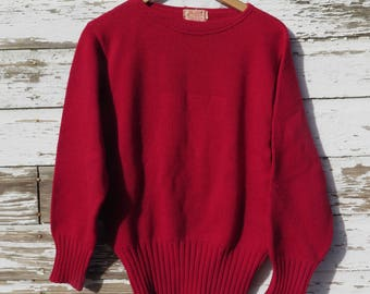 Red Vintage Team Letter Sweater 1950s Athletic Style 100% Wool Unisex 38 No Insignia Badger Hand Knit Hosiery Co. Sheboygan Wisconsin