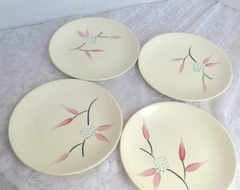 Wedding Sale Vintage Plates Pink and Teal Hand Painted Bread and Butter Plates / Ceramic Bread N Butter Dessert Plates Set of Four
