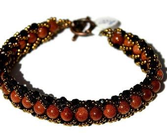 Goldstone Beaded Woven with Miyuki Seed Beads and Czech Fire Polished Beads Bracelet