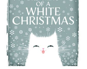 White Cat Christmas card