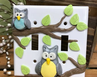 Owl Double Switch Plate Cover, Double Switch Plate, Owl Decor, Owls