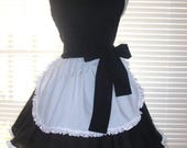 Reserved For Danielle - PLUS SIZE French Apron, Retro Black and White French Maid Apron, Frilly Apron, Wide Circular Skirt