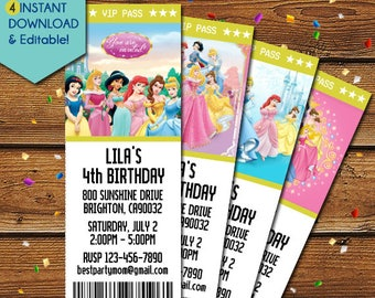 Disney Princess Invitation, Disney Princess Birthday Invitation, Disney Princess Part Invite, Cinderella, Sleeping Beauty, Snow White, Ariel