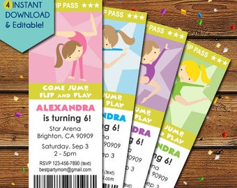 Gymnastics Birthday Invitation, Girl Gymnastics Invitation, Gymnastics Party Invite, Tumbling Invitation, Gymnast Invitation, Gym Party
