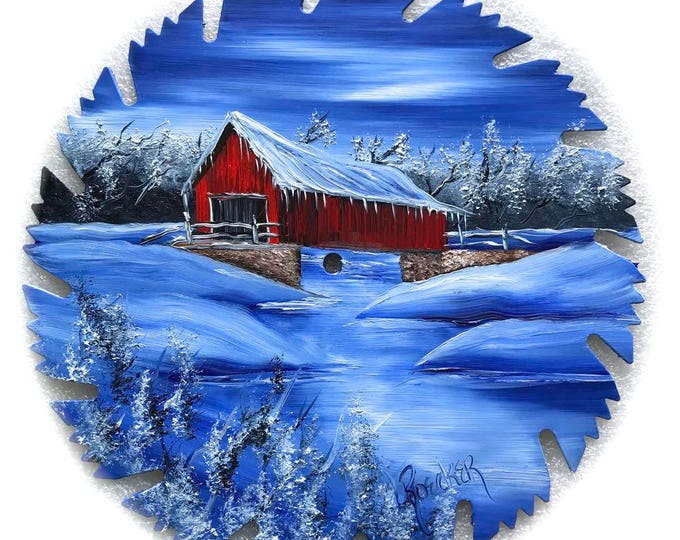 Hand Painted Saw Blade Winter Covered Bridge NEW!!
