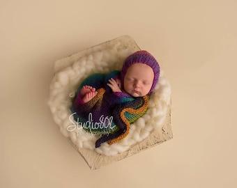 Newborn Rainbow Bonnet and wrap, blanket, rainbow blanket, baby photo prop, newborn hat, Photo Props, Photography Props, Rainbow baby prop