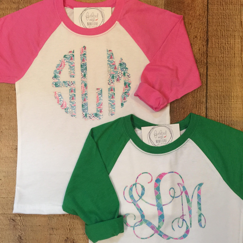 Youth Print Monogram Raglan Shirt Plaid Monogrammed