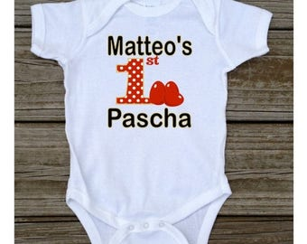 SALE Personalized First 1st Pascha T-shirt or Baby Bodysuit Red Eggs Black Gold Pascha Tshirt or Bodysuit - White, Grey, Light Blue, Light P