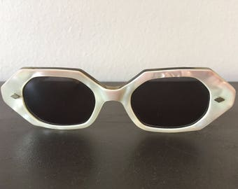 Vintage Womens French Sunglasses 1950s Lucite Sunglasses Womens Opal Pink White Mod Eye Ware True Vintage Decadence